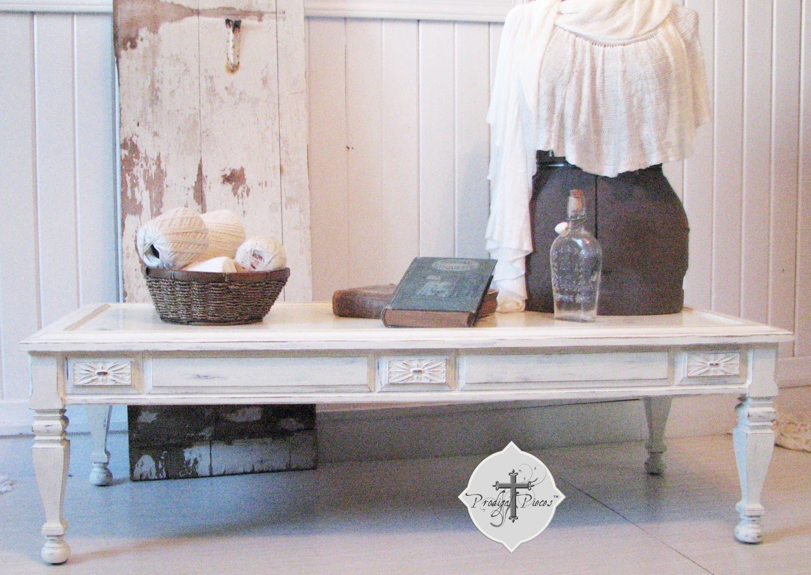 Thrifted coffee table makeover prodigal pieces shabby chic coffee table via prodigal pieces geotapseo Images
