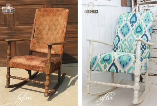 Before and After of Upholstered Rocking Chair by Prodigal Pieces | www.prodigalpieces.com