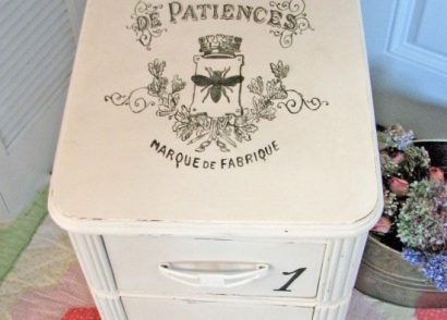 A $3 thrifted side of a vanity becomes a sweet shabby chic piece with wallpaper and The Graphics Fairy by Prodigal Pieces www.prodigalpieces.com #prodigalpieces