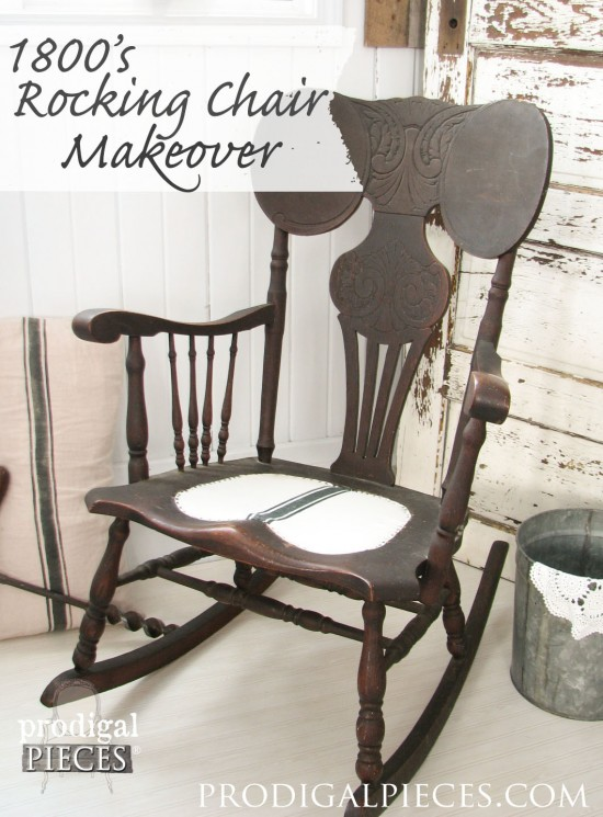 1800's Rocking Chair Makeover with Grain Sack Seat by Prodigal Pieces | www.prodigalpieces.com