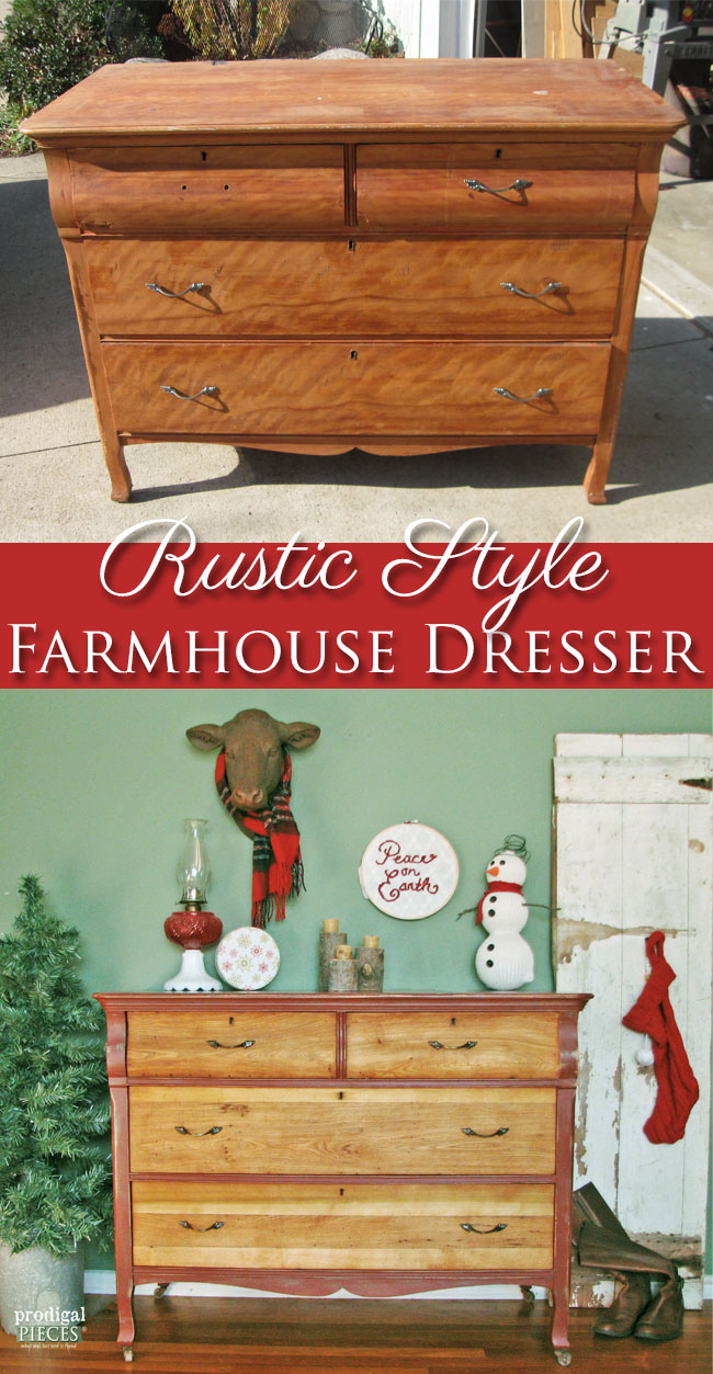 Rustic Red Farmhouse Dresser Makeover by Prodigal Pieces | www.prodigalpieces.com