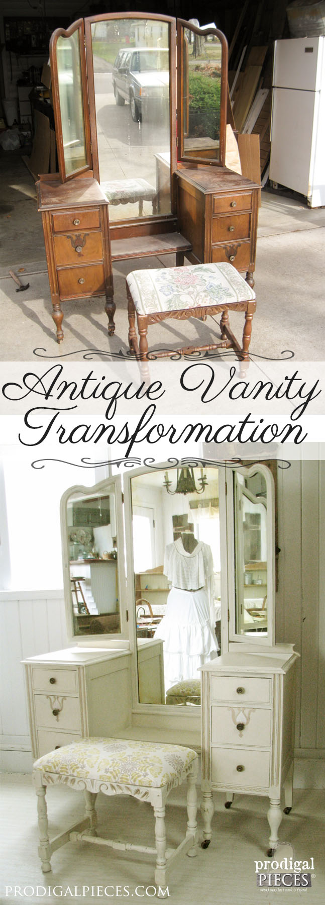 An Antique Vanity Transformation by Prodigal Pieces | www.prodigalpieces.com