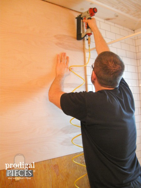 Installing Luan Panels for Bathroom Remodel| Prodigal Pieces | www.prodigalpieces.com