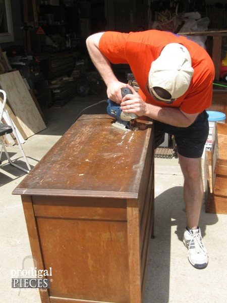 Using Jigsaw to Cut Top of Vintage Dresser for Farmhouse Bathroom Vanity | Prodigal Pieces | www.prodigalpieces.com