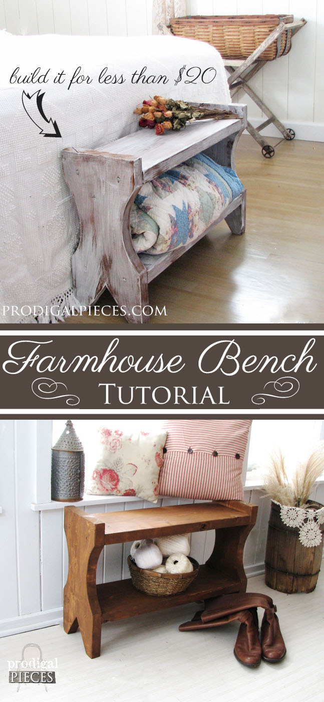 Build A Farmhouse Bench for Less than $20 | DIY Tutorial by Prodigal Pieces | www.prodigalpieces.com