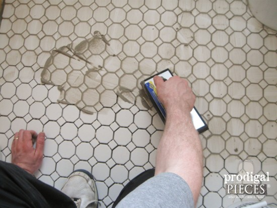 Gray Grout with White Hexagon Tile in Farmhouse Bathroom | Prodigal Pieces | www.prodigalpieces.com
