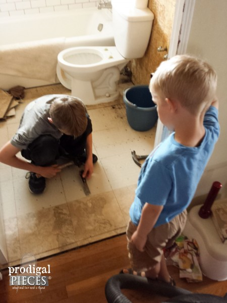 Kids Helping with Bathroom Remodel | Prodigal Pieces | www.prodigalpieces.com