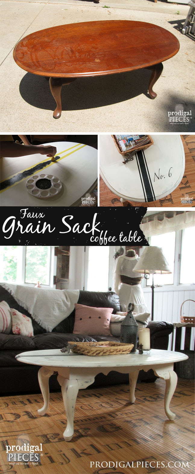 Create a Faux French Grain Sack Table with Tape and Paint - Let a teenager show you how! by Prodigal Pieces | prodigalpieces.com