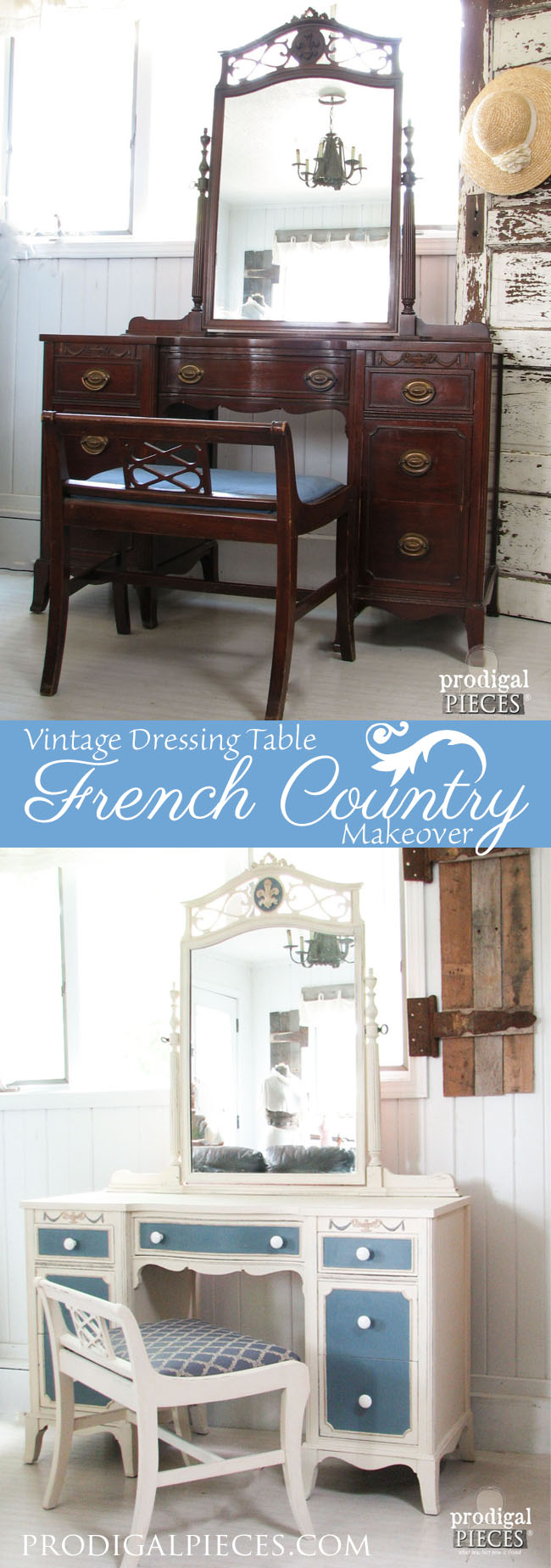 Vintage Dressing Table Gets a French Country Makeover by Prodigal Pieces www.prodigalpieces.com