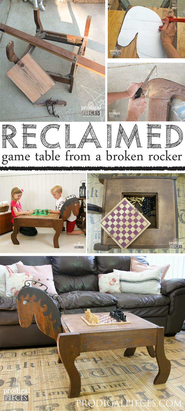 Antique Rocker Base Repurposed into Game Table by Prodigal Pieces | prodigalpieces.com