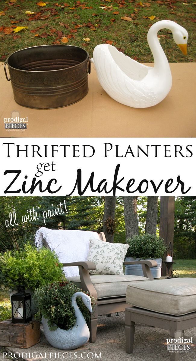 Two Thrifted Planters Get Faux Zinc Makeover by Prodigal Pieces | www.prodigalpieces.com