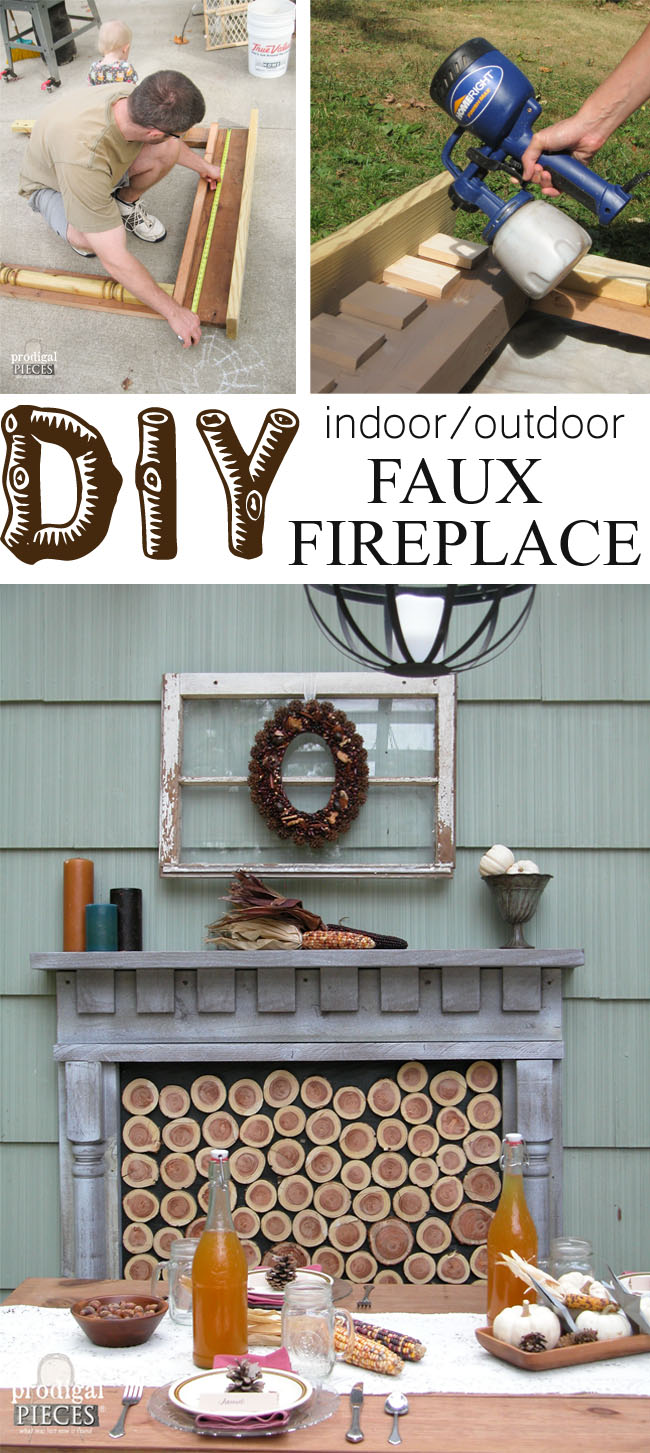 Indoor / Outdoor DIY Faux Fireplace | Prodigal Pieces | www.prodigalpieces.com