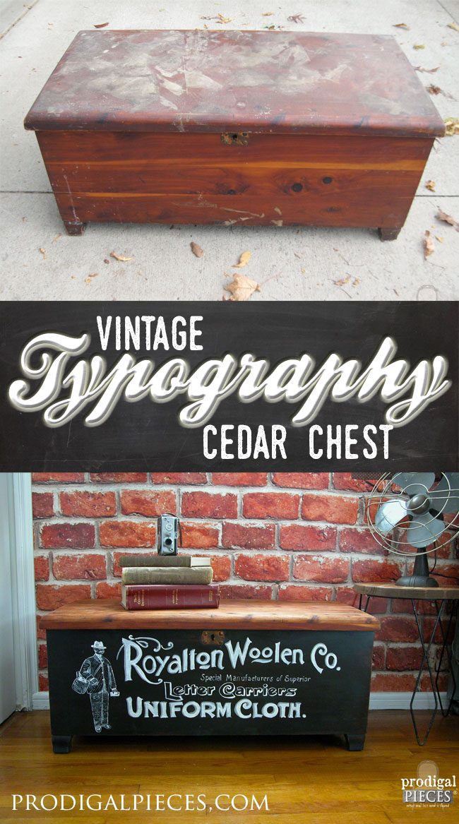 Acme Cedar Chest Gets Makeover with Vintage Typography by Prodigal Pieces | www.prodigalpieces.com