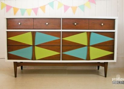 Mid-Century Modern Bassett credenza gets some color fun by Prodigal Pieces | www.prodigalpieces.com