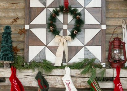Create a faux barn wood wall quilt using vinyl flooring with this easy DIY tutorial by Prodigal Pieces. www.prodigalpieces.com #prodigalpieces