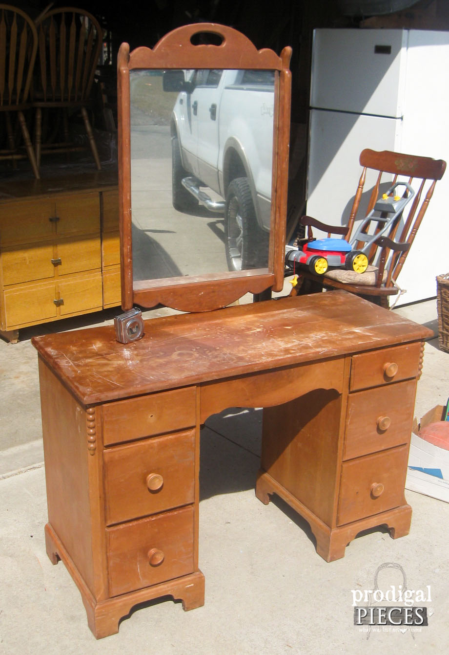 Vintage Cherry Vanity Before | Prodigal Pieces | www.prodigalpieces.com