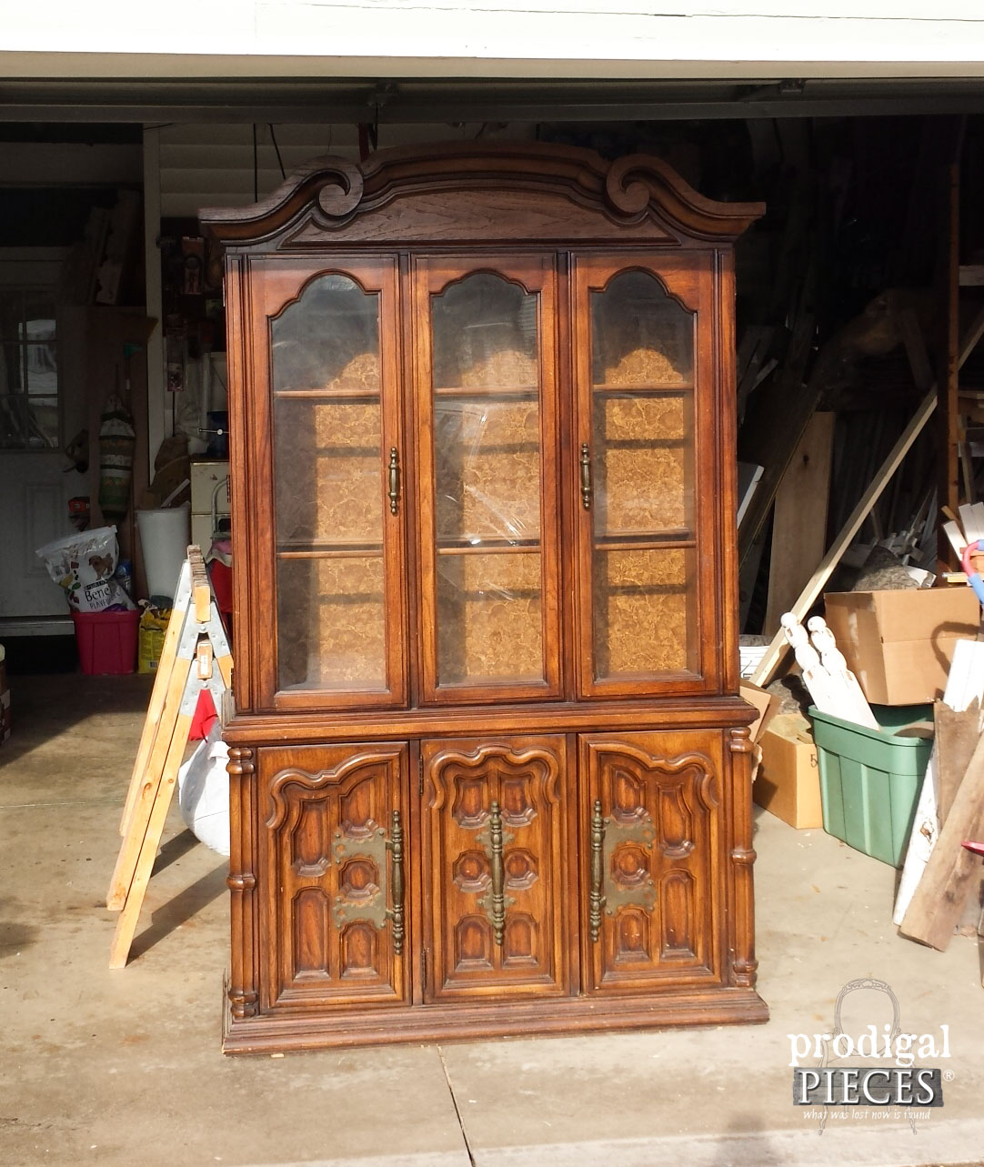 Vintage China Cabinet Before Wallpaper Makeover by Prodigal Pieces | www.prodigalpieces.com