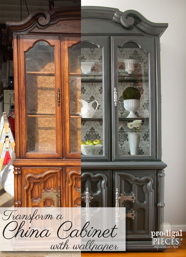 Transform an Outdated China Cabinet with Wallpaper by Prodigal Pieces | www.prodigalpieces.com