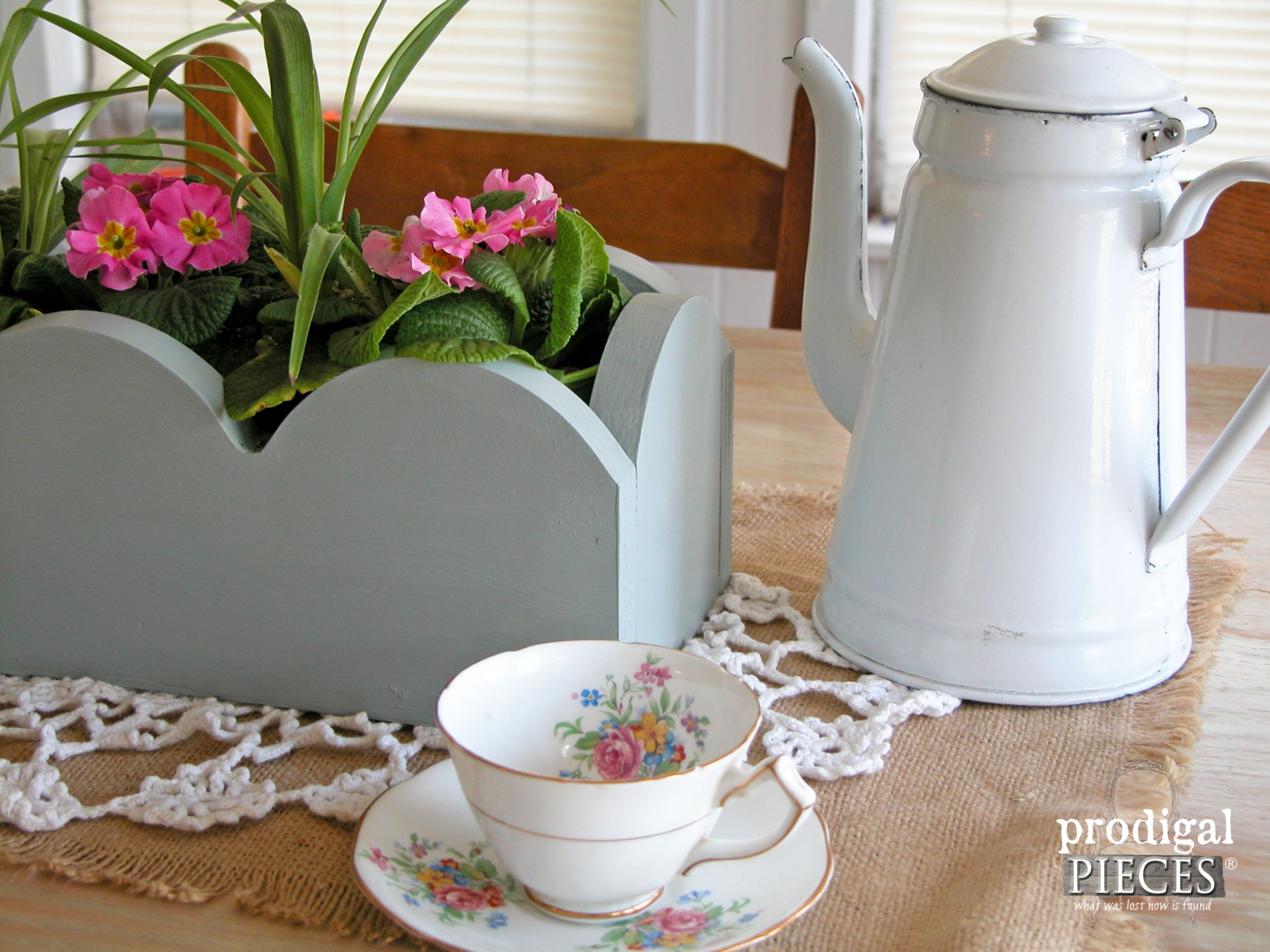 Repurposed Valance Flower Centerpiece by Prodigal Pieces | www.prodigalpieces.com