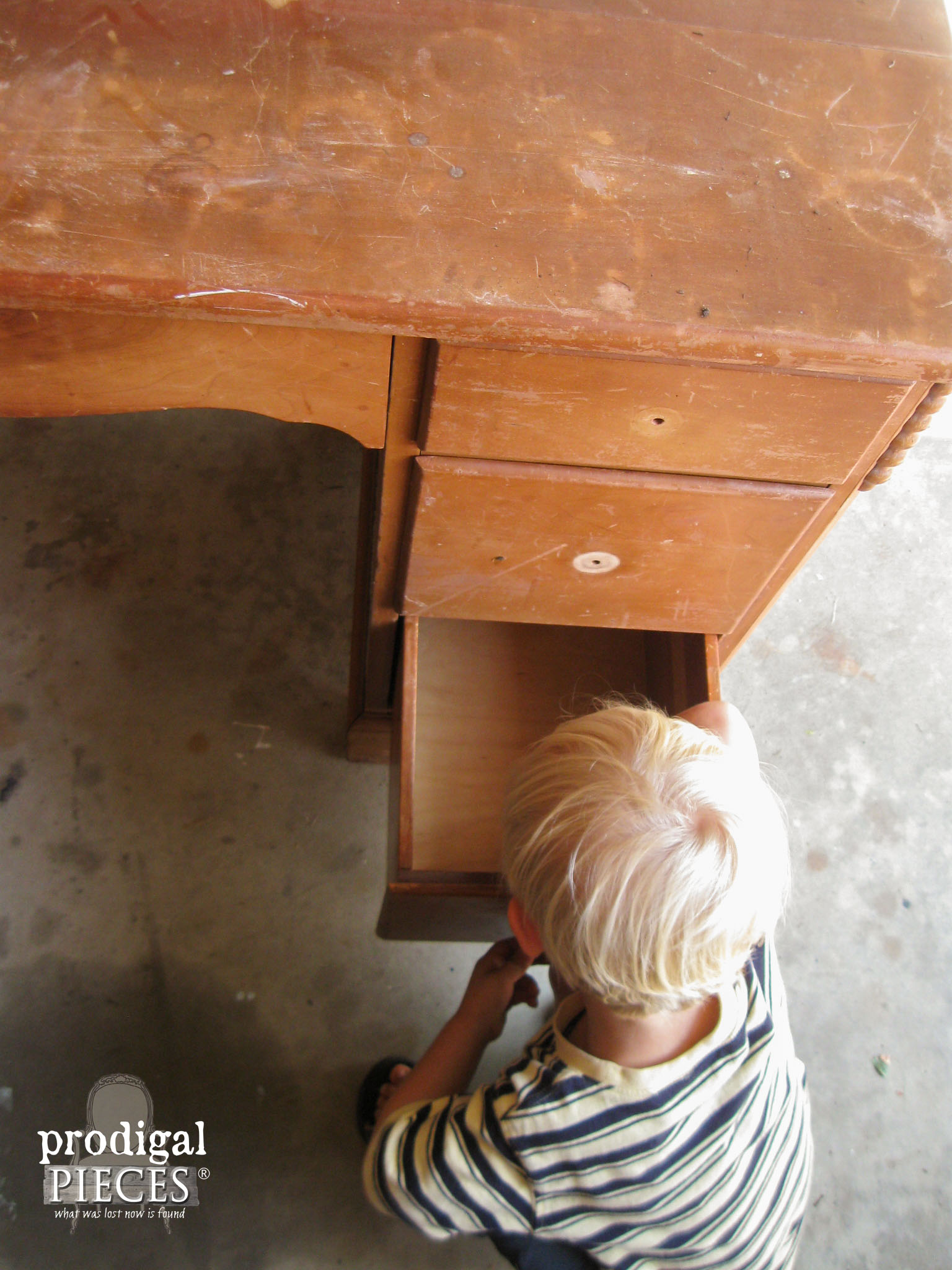 My Son Helping Remove Drawer Pulls | Prodigal Pieces | www.prodigalpieces.com