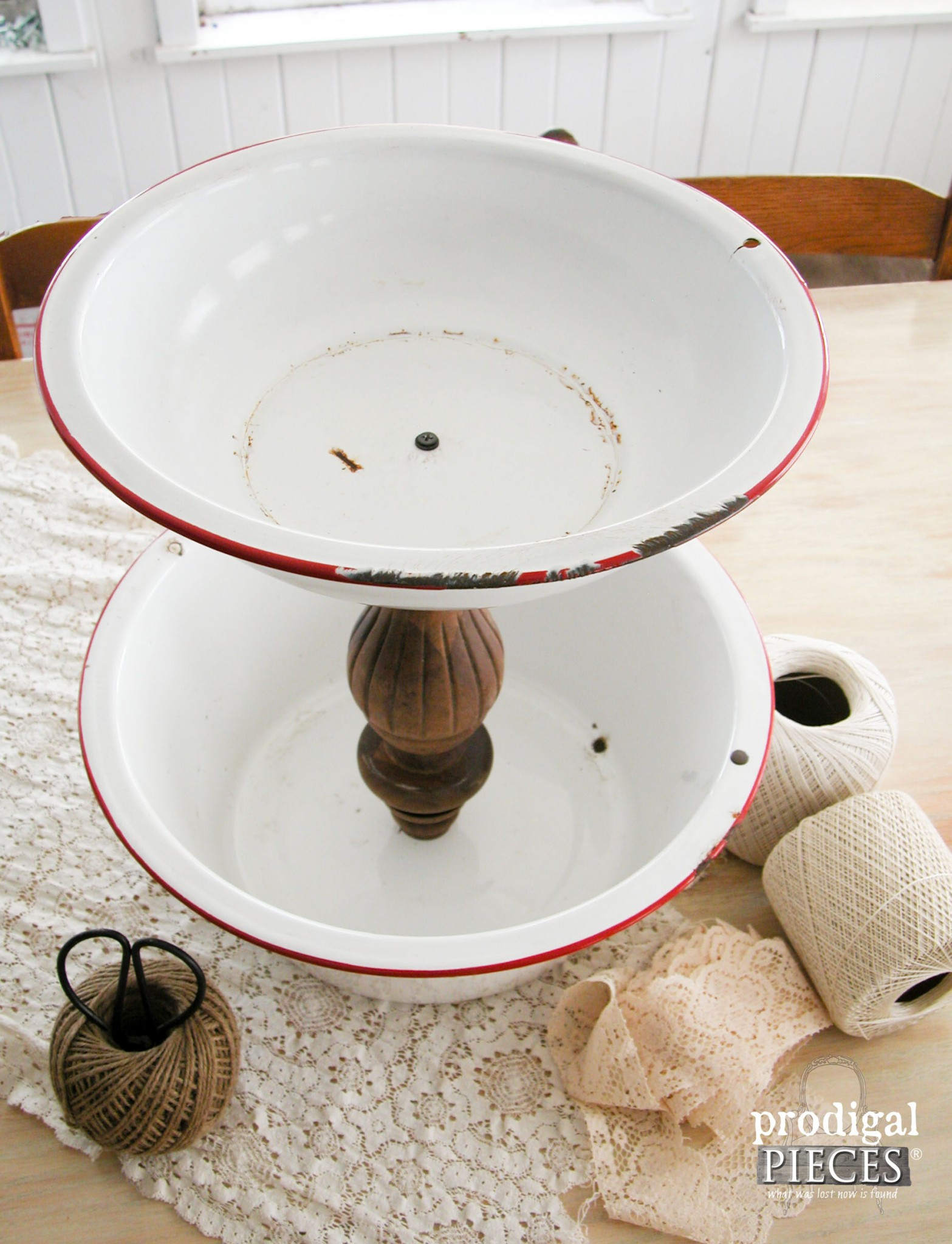Red and White Enamelware Basin Repurposed into Stand by Prodigal Pieces | www.prodigalpieces.com