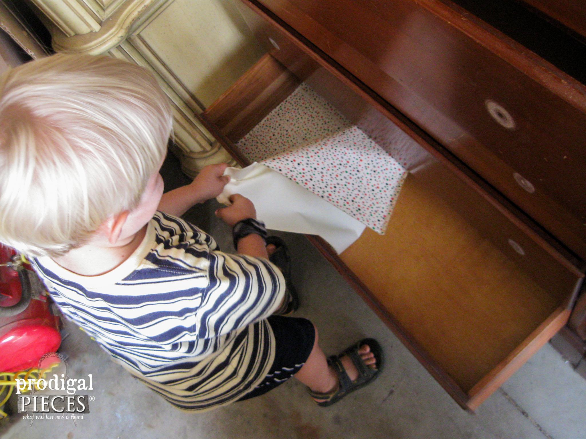 Little Boy Helper with Bedroom Set | Prodigal Pieces | www.prodigalpieces.com