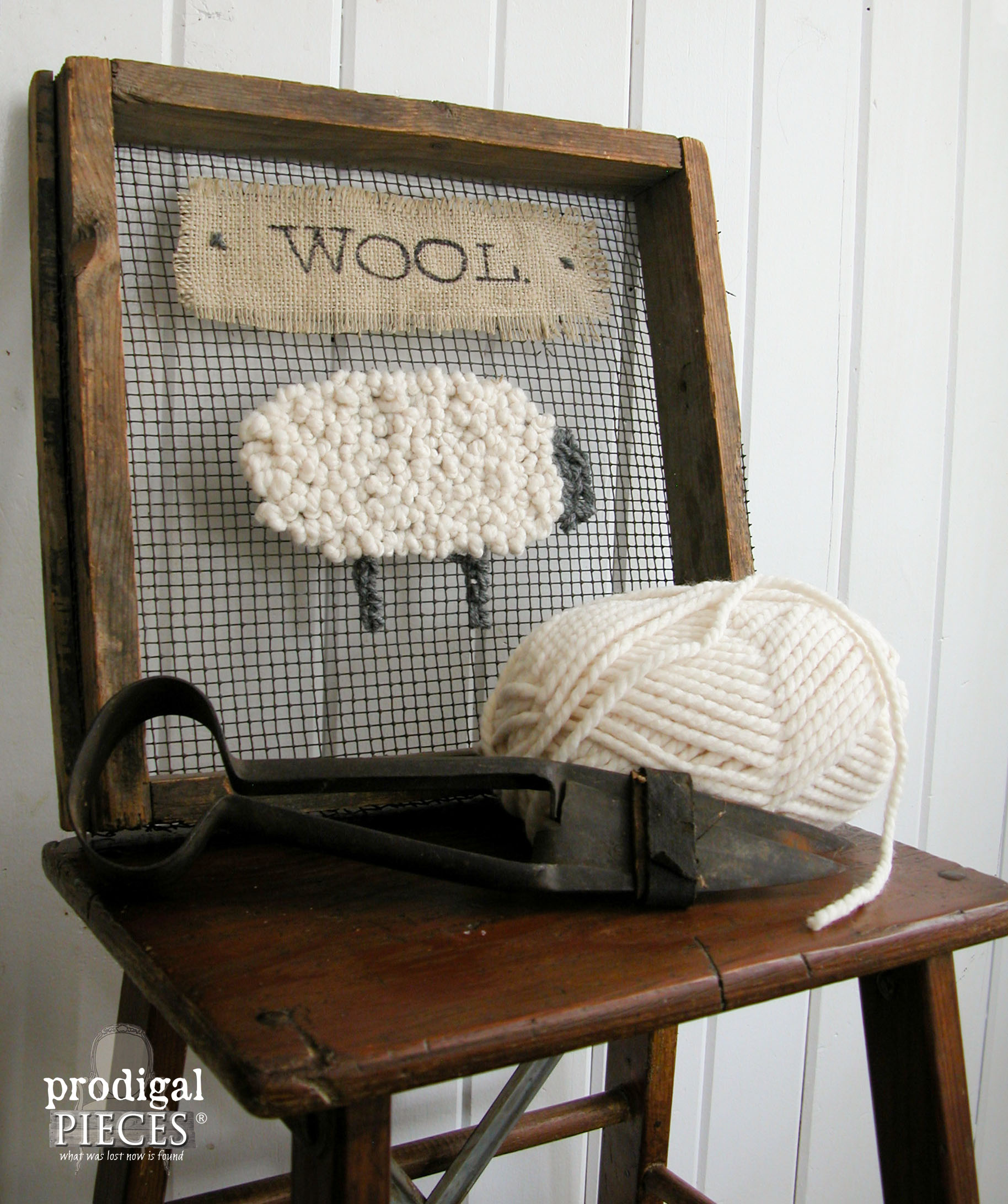 Side View Wooly Sheep Repurposed Art by Prodigal Pieces | www.prodigalpieces.com