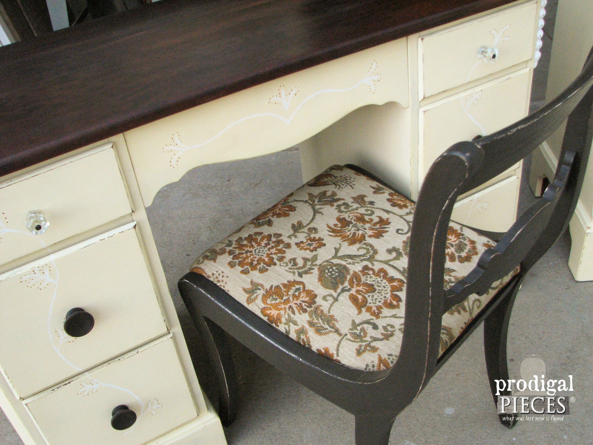 Upholstered Vintage Vanity Chair by Prodigal Pieces | www.prodigalpieces.com