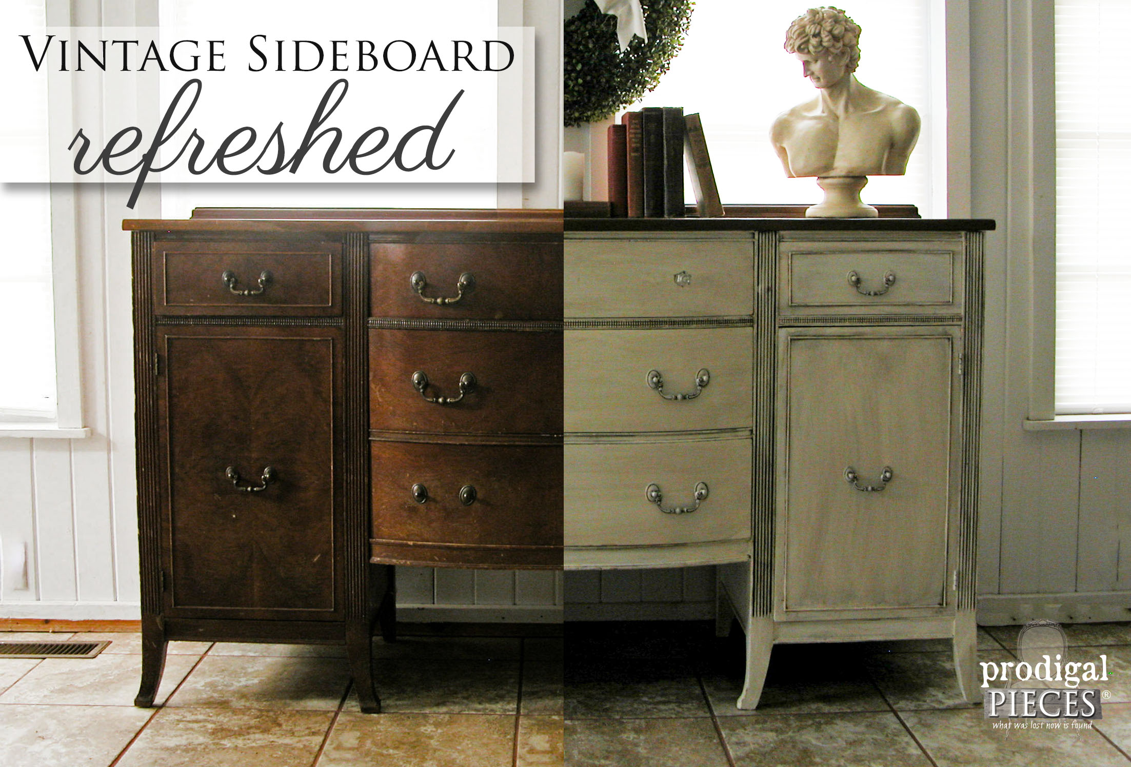 Vintage Sideboard Refreshed with Stain and Paint by Prodigal Pieces | www.prodigalpieces.com