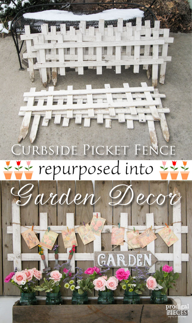 Garden Decor from Curbside Picket Fence by Prodigal Pieces | www.prodigalpieces.com