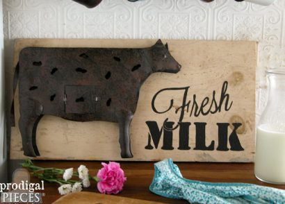 Farmhouse Metal Cow Milk Sign by Prodigal Pieces | www.prodigalpieces.com