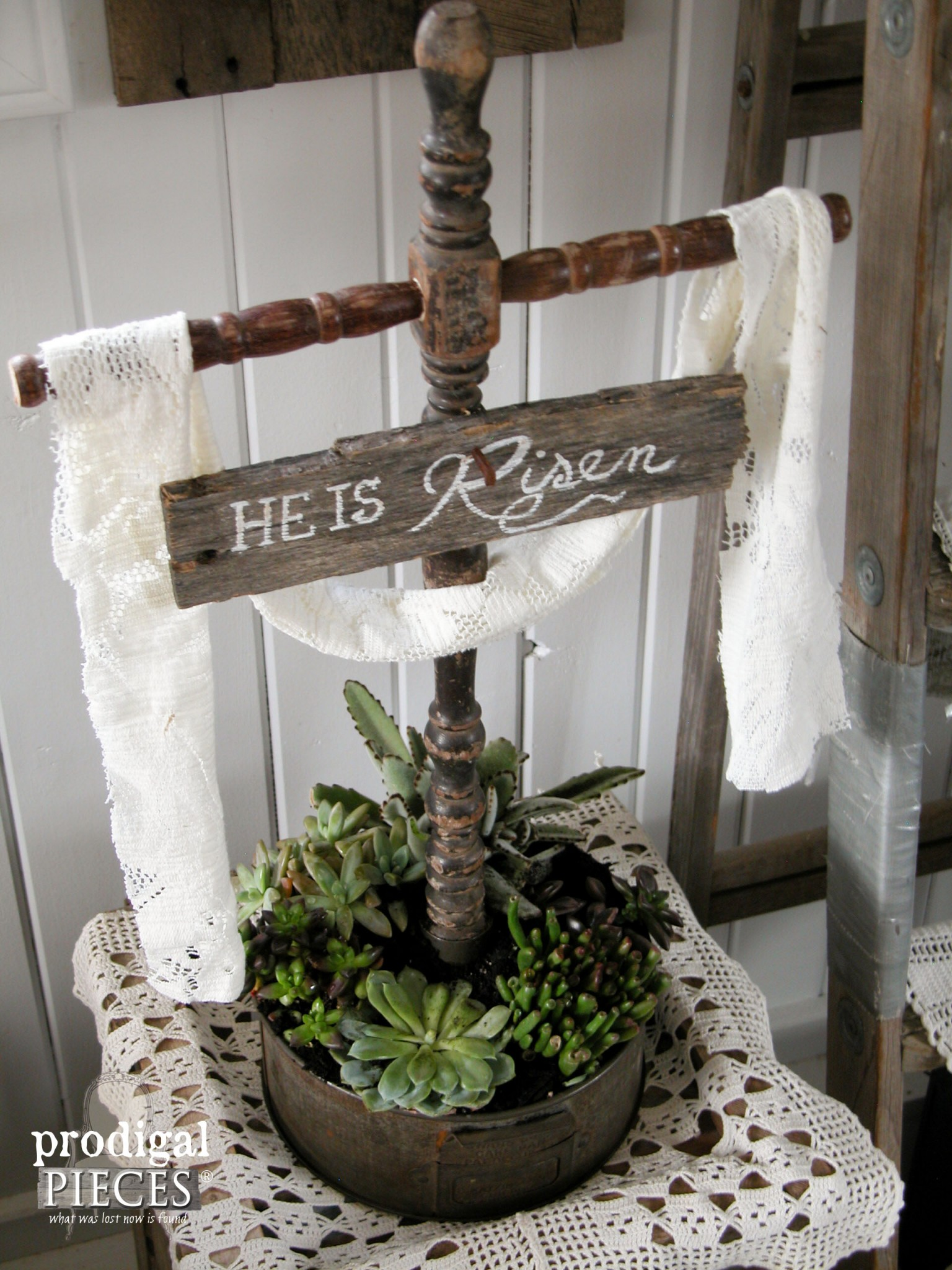 Reclaimed Vintage Finds Become Easter Cross Succulent Planter by Prodigal Pieces | www.prodigalpieces.com