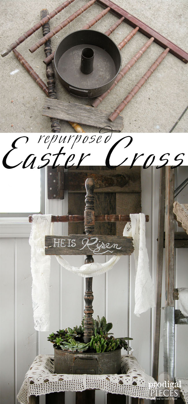 Easter Cross Made from Repurposed Parts and Turned Succulent Planter by Prodigal Pieces | prodigalpieces.com