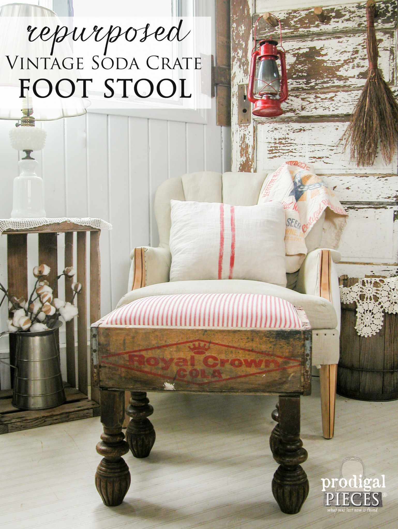 Vintage Soda Crate Repurposed into Foot Stool by Prodigal Pieces | prodigalpieces.com