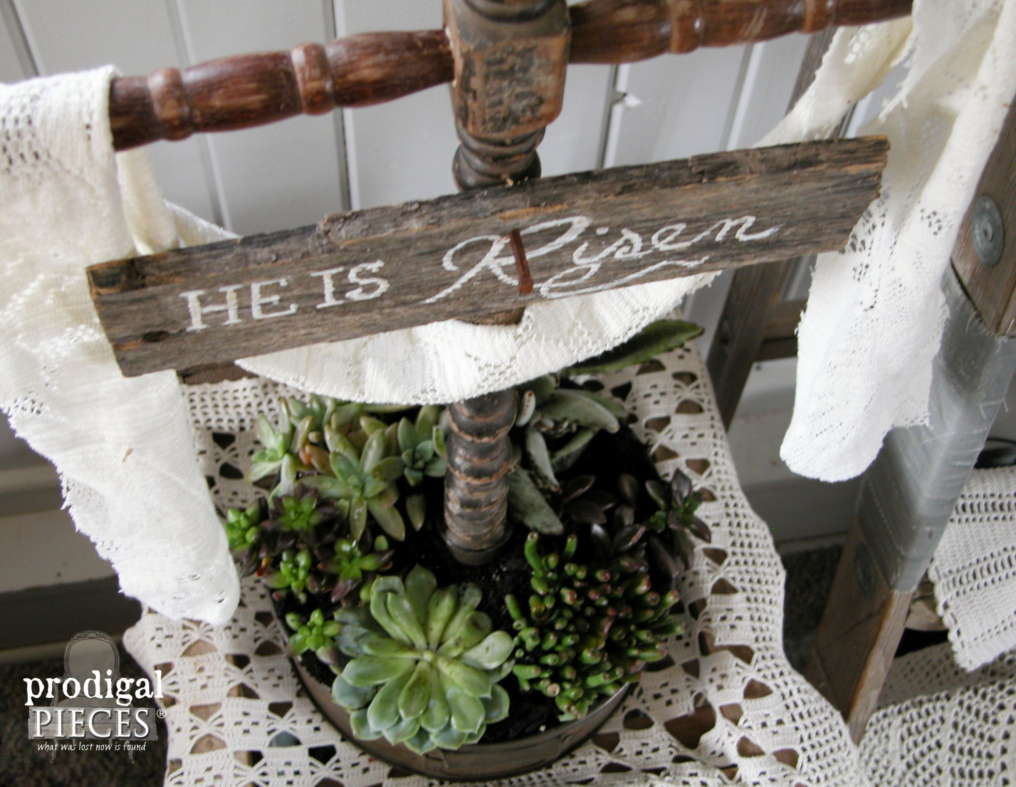 Vintage Cake Pan turned Succulent Planter with Easter Cross by Prodigal Pieces | www.prodigalpieces.com