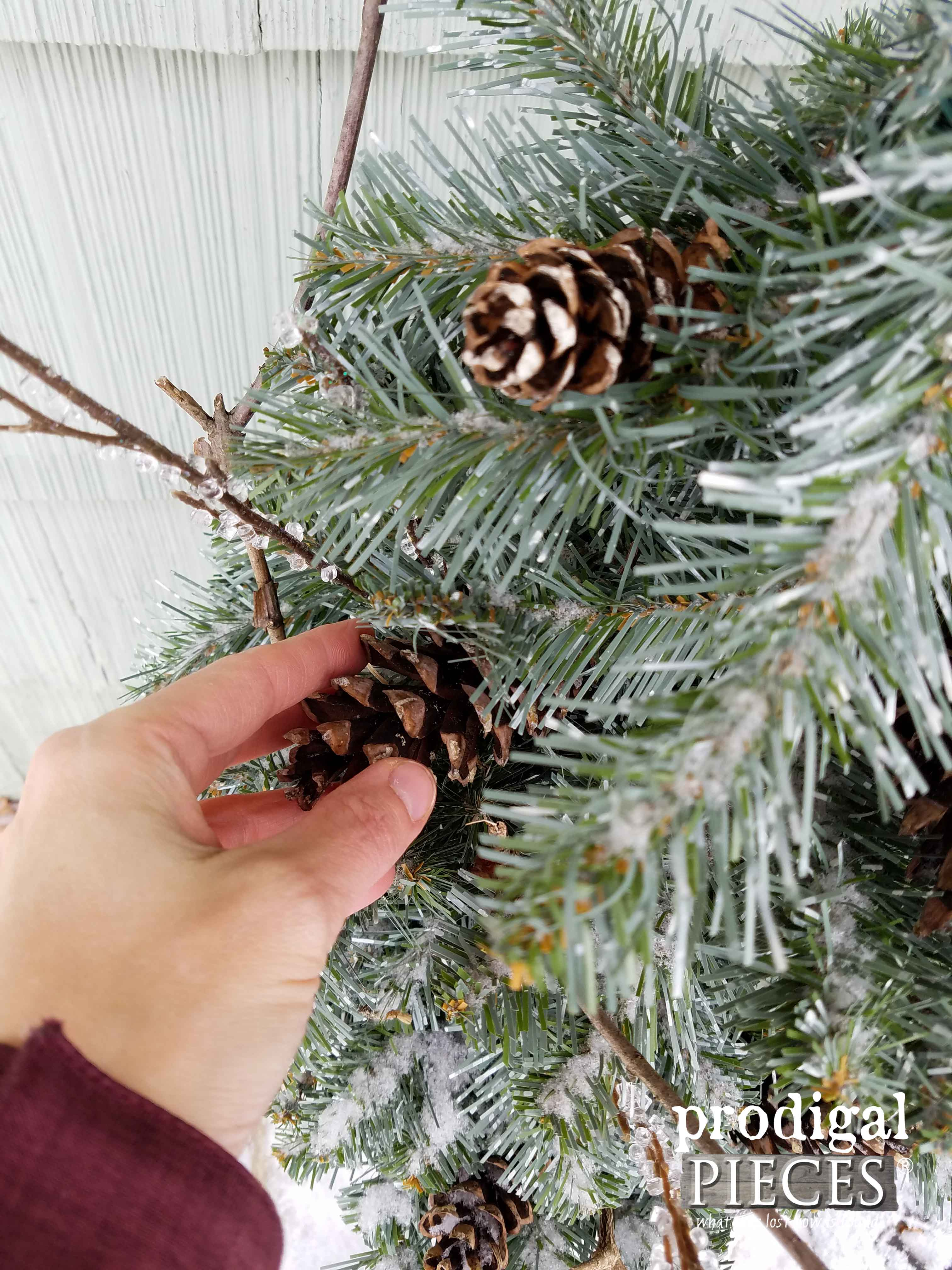 Adding Pinecones to Winter Urns | Prodigal Pieces | www.prodigalpieces.com
