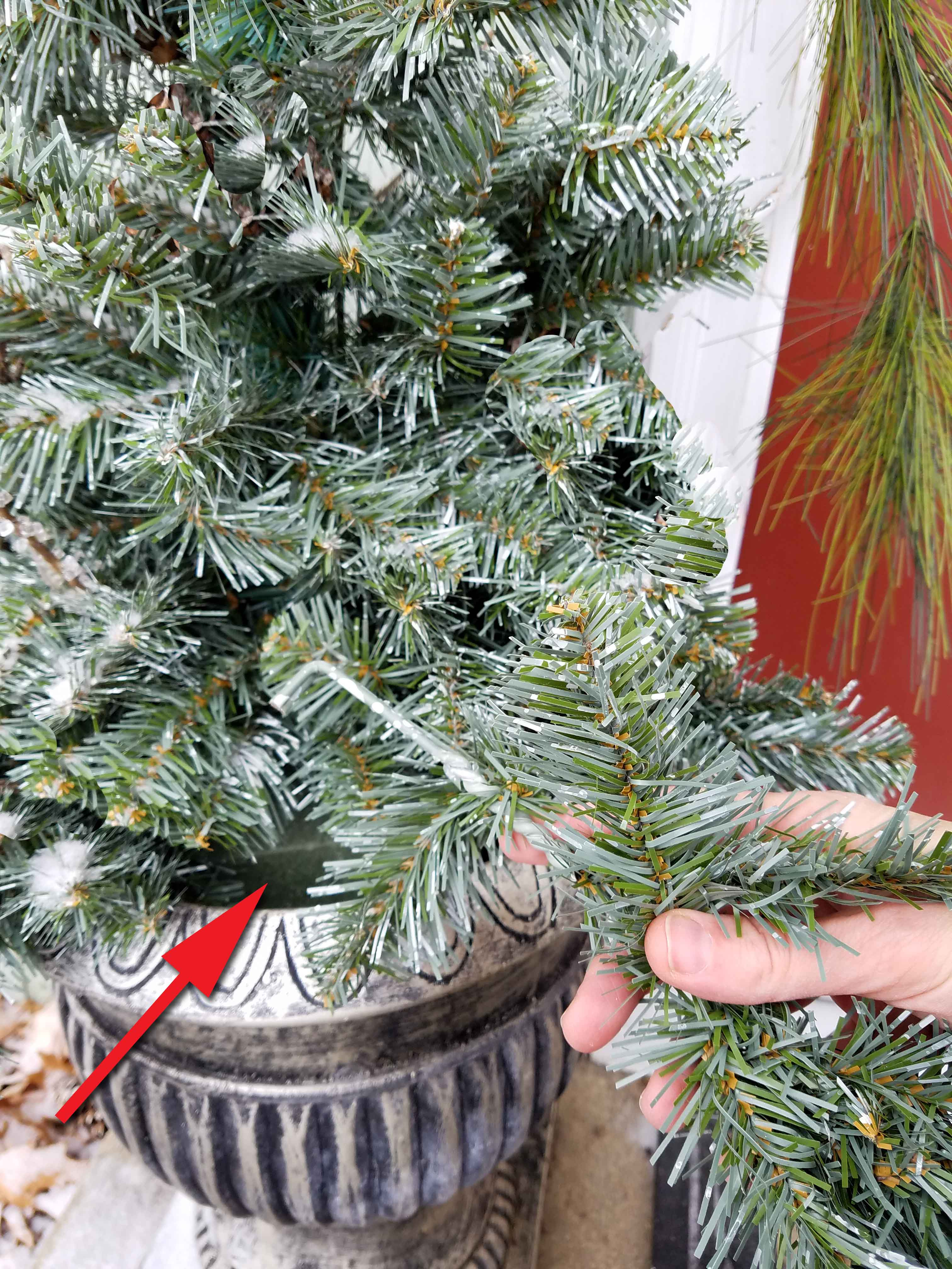 Adding Faux Tree Branches to Winter Urns | Prodigal Pieces | www.prodigalpieces.com