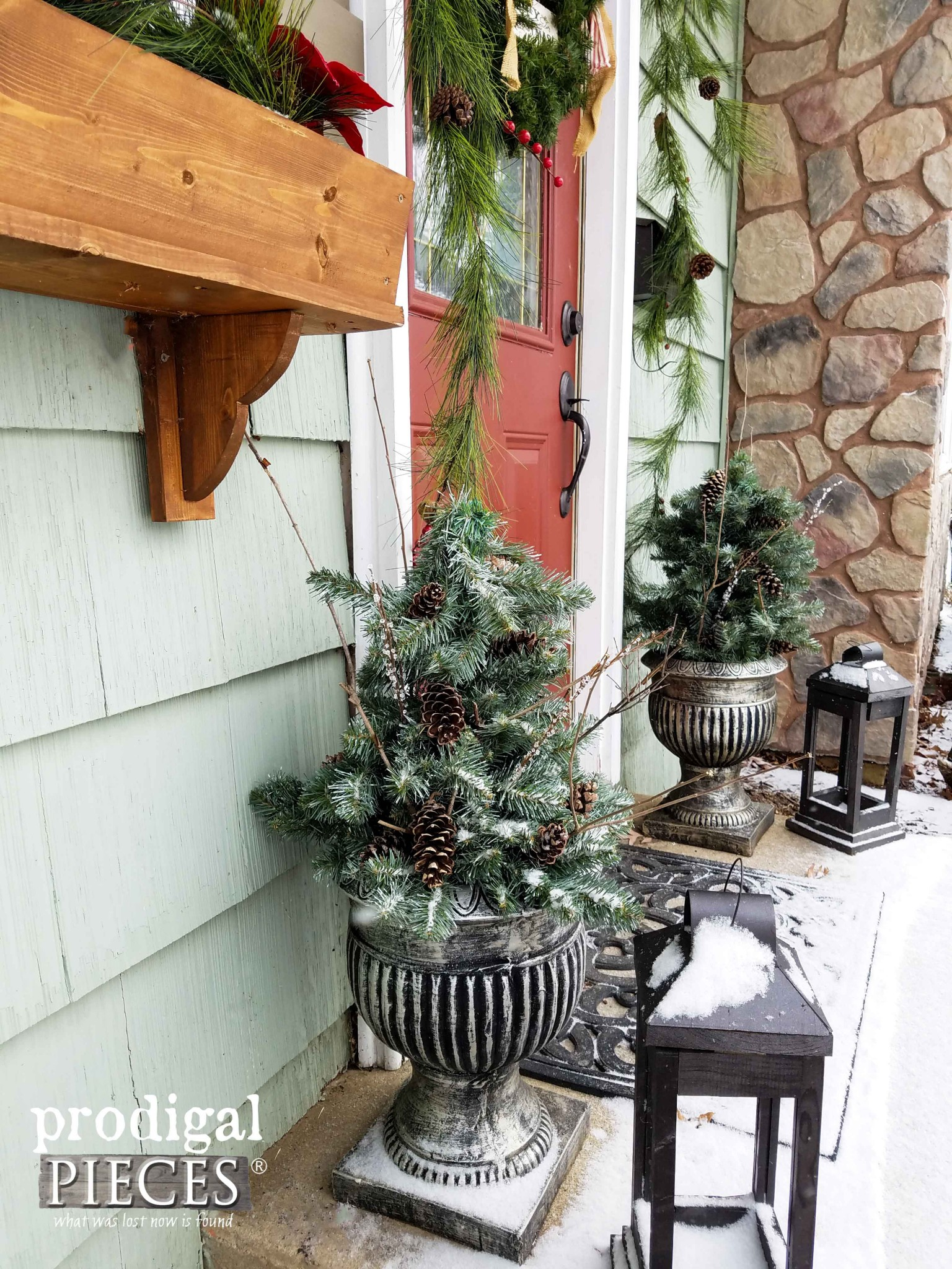 Front Door Winter Urns DIY Style by Prodigal Pieces | prodigalpieces.com