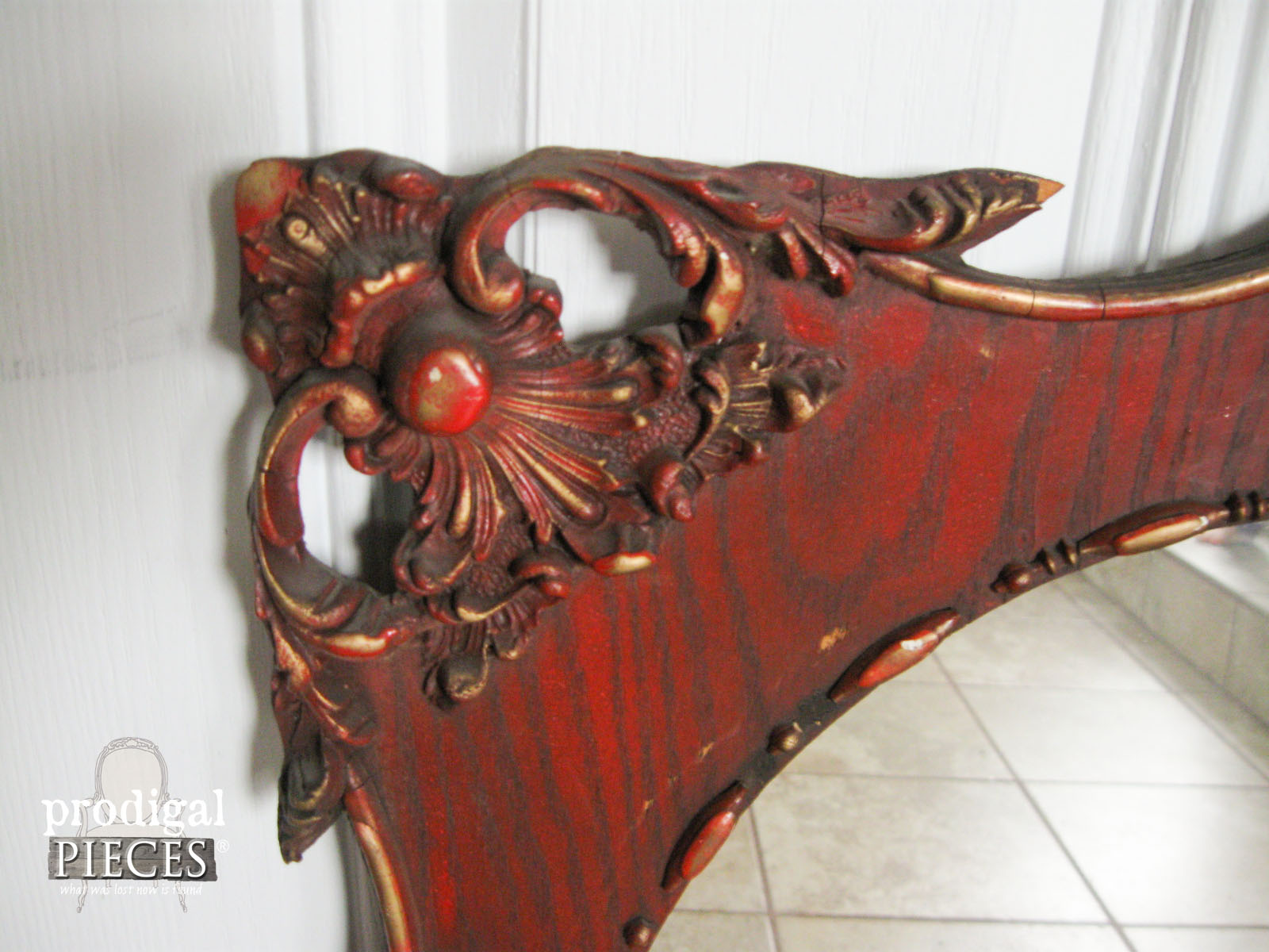 Corner of Ornate Mirror for Aged Finish Treatment | Prodigal Pieces | www.prodigalpieces.com