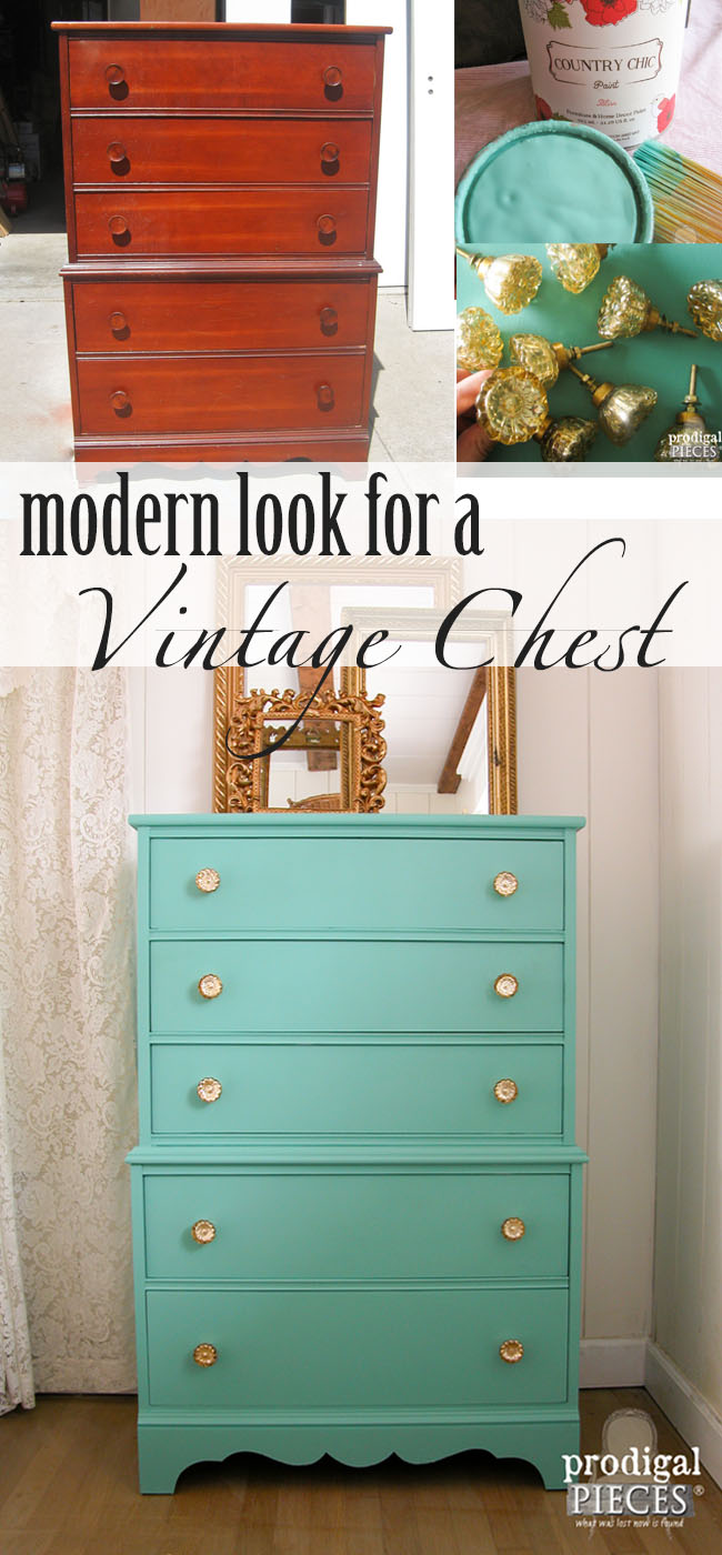 Vintage Chest Gets Modern Vibe with Paint and Knobs by Prodigal Pieces | prodigalpieces.com