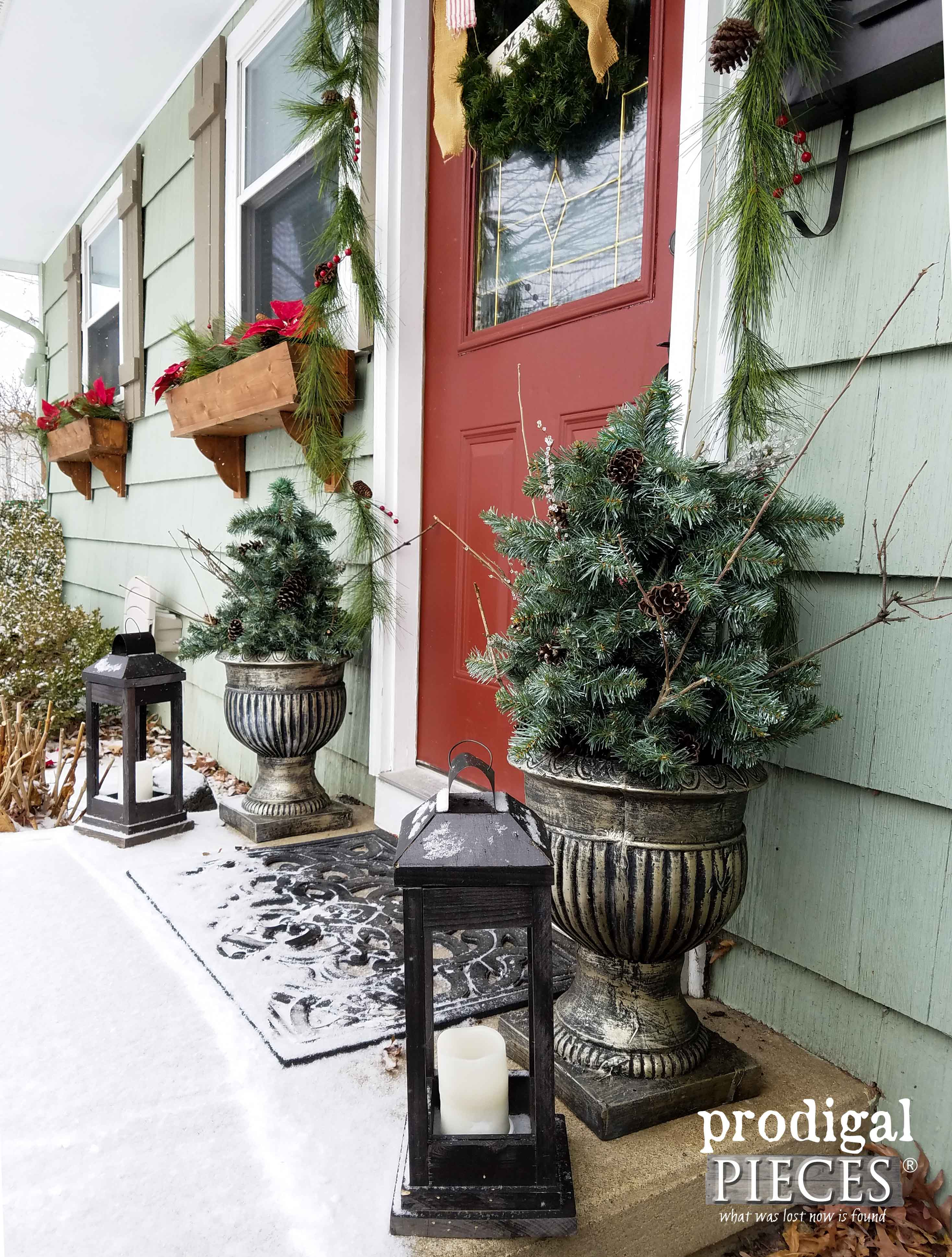 Give your Home Winter Appeal with these DIY Urns from Repurposed Materials by Prodigal Pieces | prodigalpieces.com