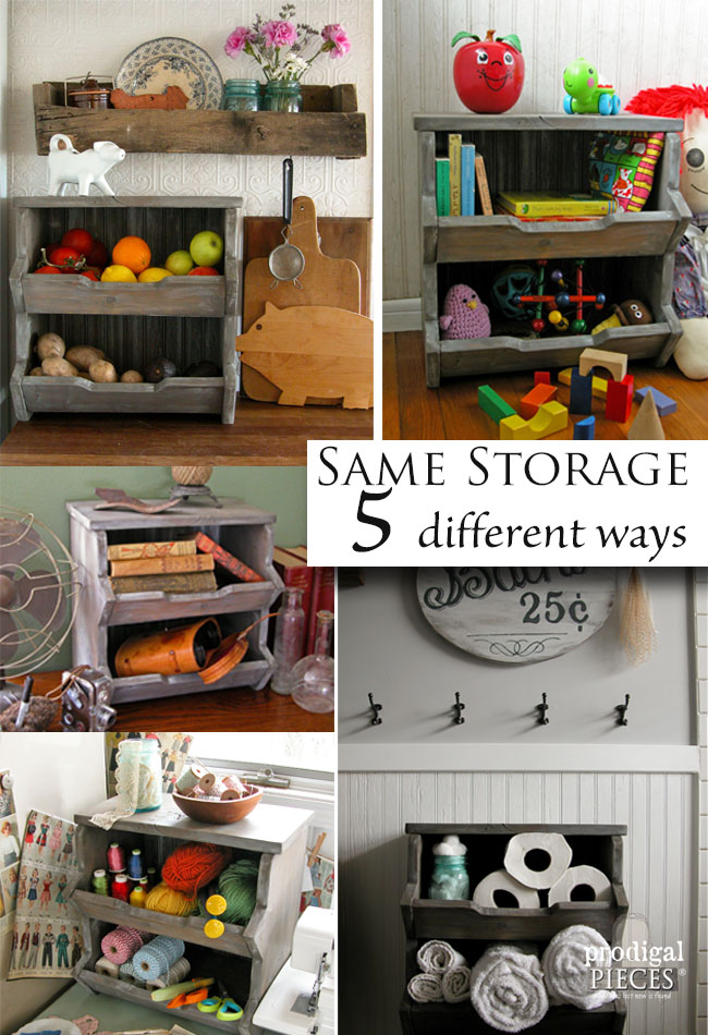 Same DIY Storage Bin 5 Different Ways with Tutorial by Prodigal Pieces | www.prodigalpieces.com