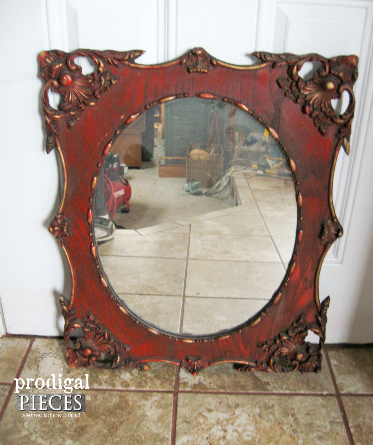 Ornate Vintage Mirror Before Aged Finish | Prodigal Pieces | www.prodigalpieces.com