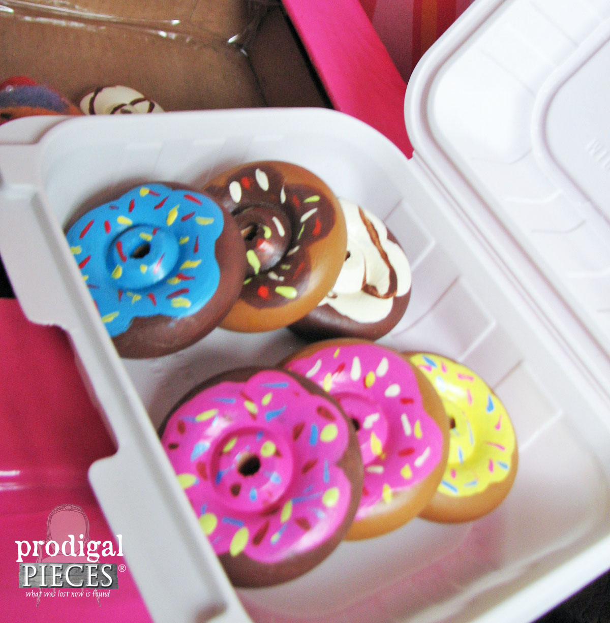 Wooden Toy Wheels Made into Pretend Play Doughnuts by Prodigal Pieces | www.prodigalpieces.com