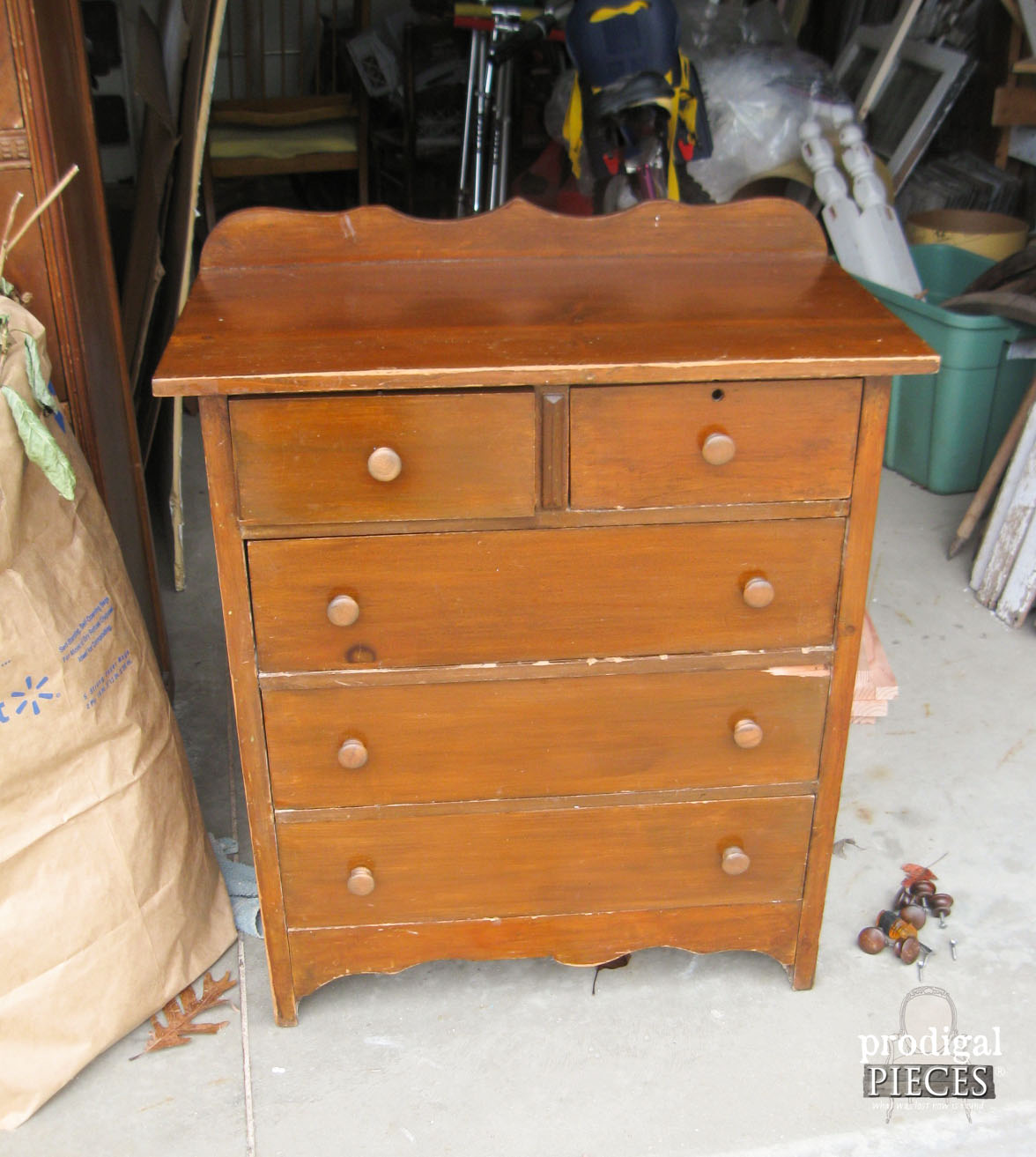 Curbside Find Child's Chest of Drawers Before Made into Card Catalog by Prodigal PIeces | www.prodigalpieces.com