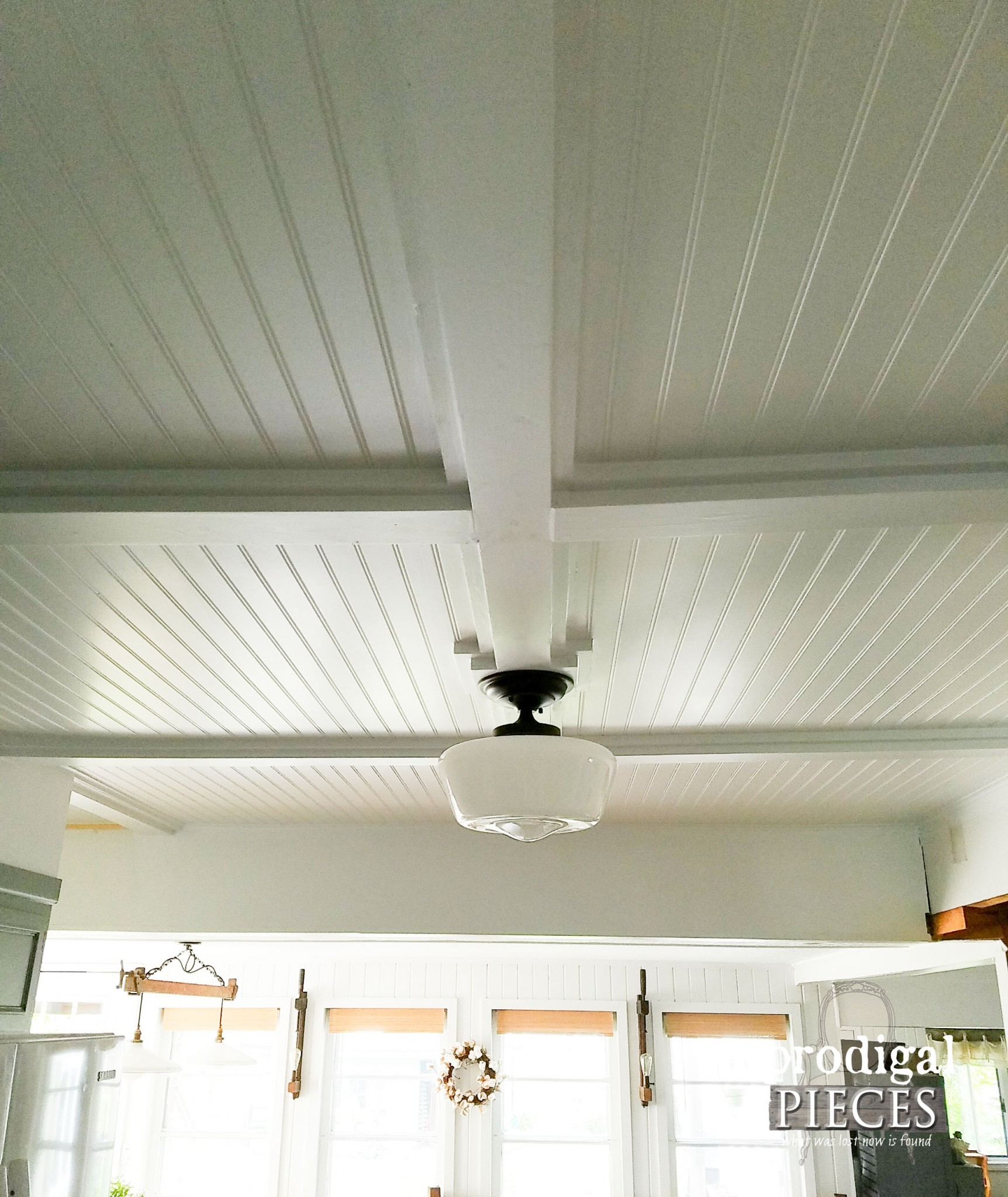 Farmhouse Beadboard Coffered Ceiling in Kitchen by Prodigal Pieces | www.prodigalpieces.com