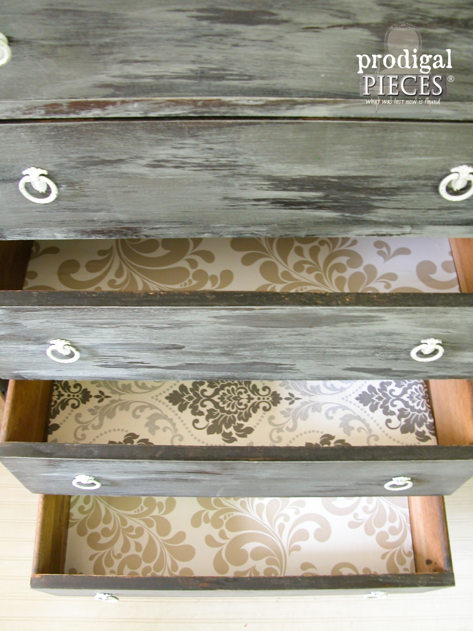 Chest of Drawers Lined with Wallpaper for Fun Contrast by Prodigal Pieces | www.prodigalpieces.com