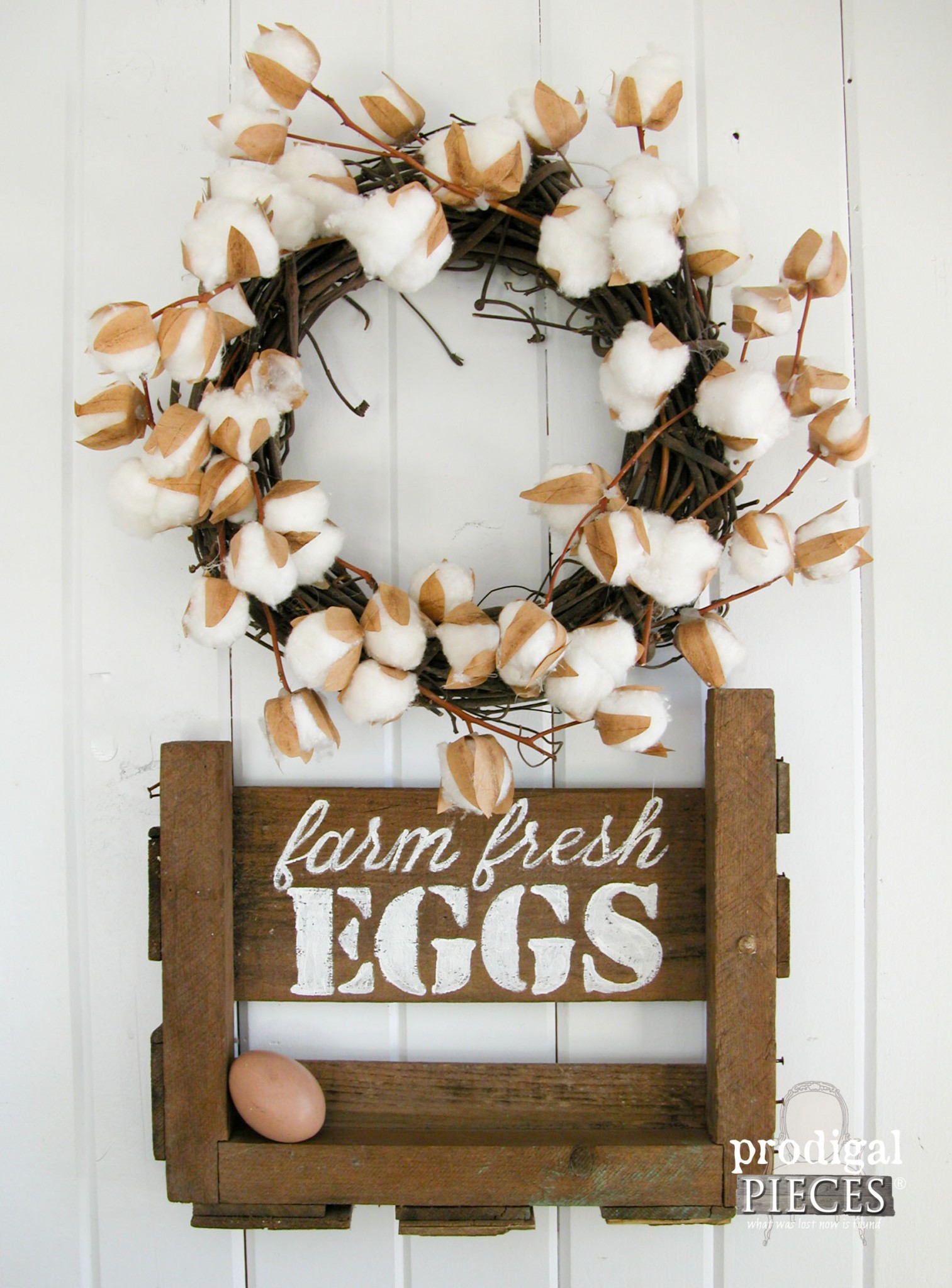 "Handmade Repurposed Crate ""Farm Fresh Eggs"" Sign by Prodigal Pieces 