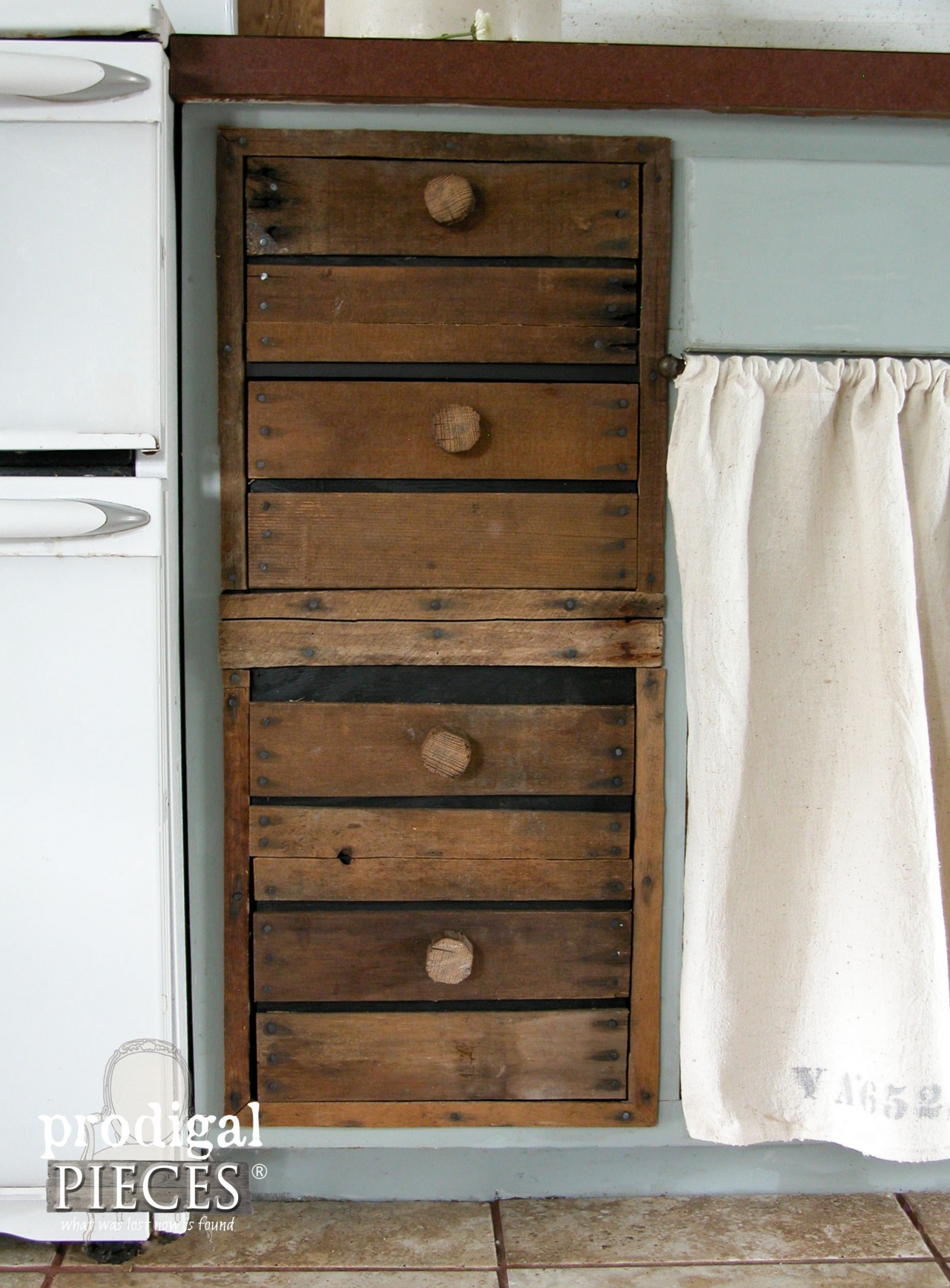Rustic Farmhouse Kitchen Faux Crate Drawers by Prodigal Pieces | www.prodigalpieces.com