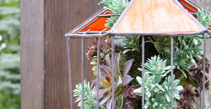 Succulent Planter from Broken Bird Feeder